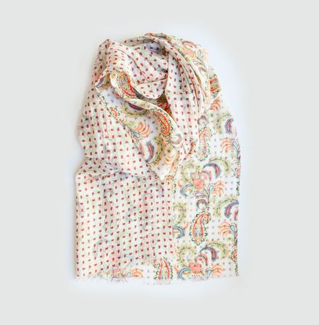 Double-Face White Calabrese Linen Scarf with Orange Patterns