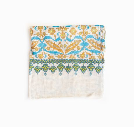 Beige with Oriental Patterns Calabrese 1924 Linen Scarf