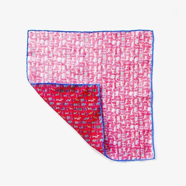 Red with indian patterns hand-tipped pocket square 100% linen