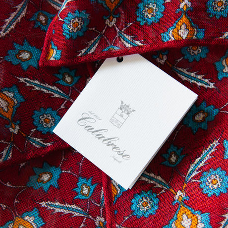 Red with flower patterns hand-tipped pocket square 100% linen