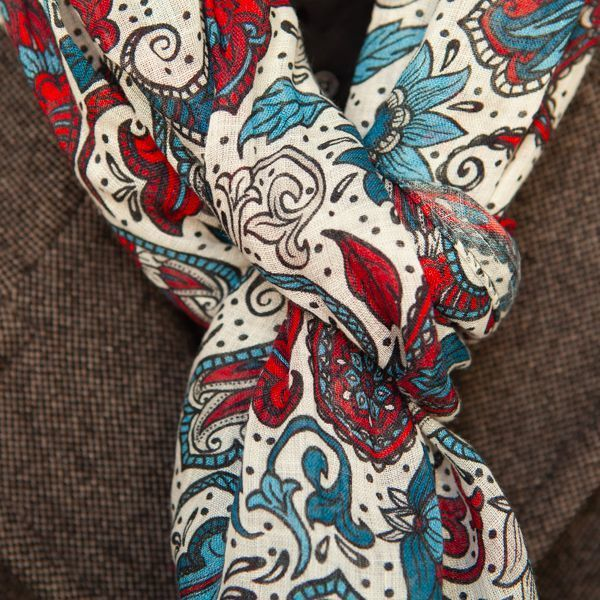 White with Red Flower Patterns linen and silk Calabrese 1924 Scarf