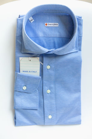 Polo camicia denim chiaro in cottone stretch slim fit