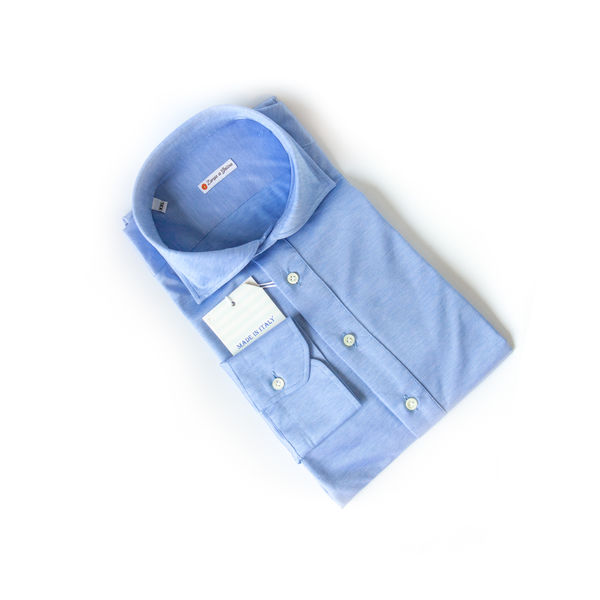 Chemise polo en coton stretch en fil d'Écosse denim slim fit