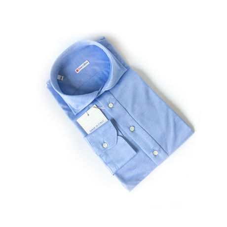 Slim fit Mercerized Coton Long Sleeve Light Denim Blue Shirt Polo