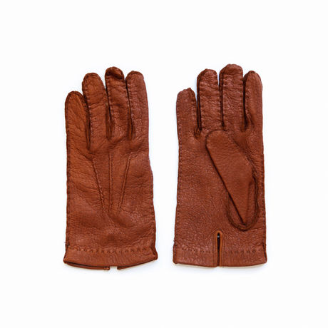 Unlined Handstitched Brown Genuine Peccary Gloves