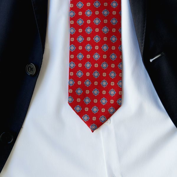 Unlined Red with Blue Ancient Madder Patterns Francesco Marino Napoli Tie