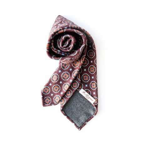 Unlined Burgundy with Vintage Ancient Madder Patterns Francesco Marino Napoli Tie