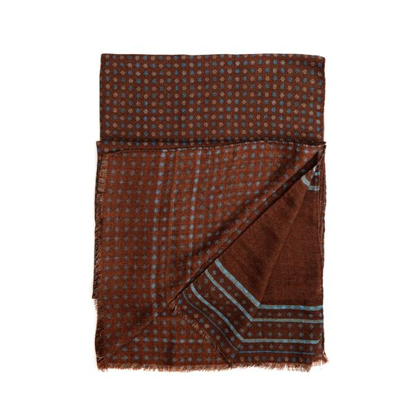 Brown with flower patterns Calabrese 1924 Merino Wool Scarf
