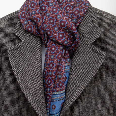 Blue with Ancient Madder patterns Calabrese 1924 Merino Wool Scarf