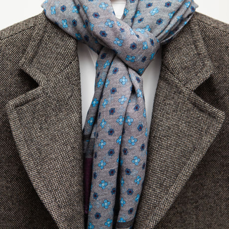 Grey with wine border Calabrese 1924 Merino Wool Scarf