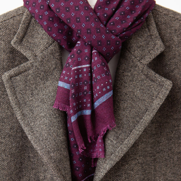 Wine with Ancient Madder patterns Calabrese 1924 Merino Wool Scarf