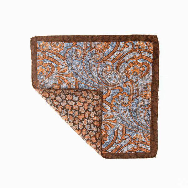 Double-sided brown with paisley patterns Calabrese 1924 hand-tipped Pocket square
