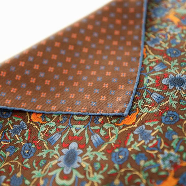 Double-sided blue with flower patterns Calabrese 1924 hand-tipped Pocket square