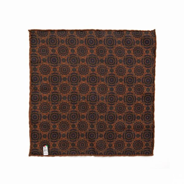 Double-sided brown with patterns Calabrese 1924 hand-tipped Pocket square