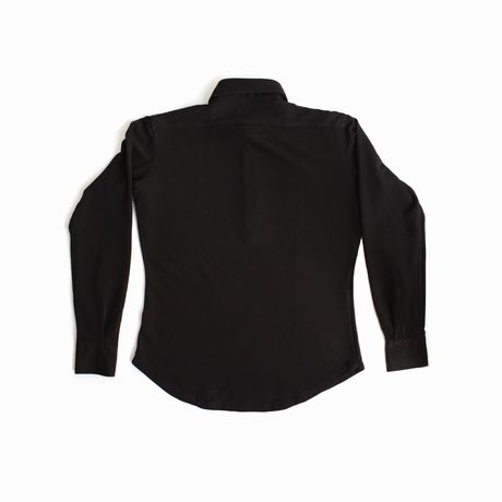Polo camicia nera in cottone stretch slim fit