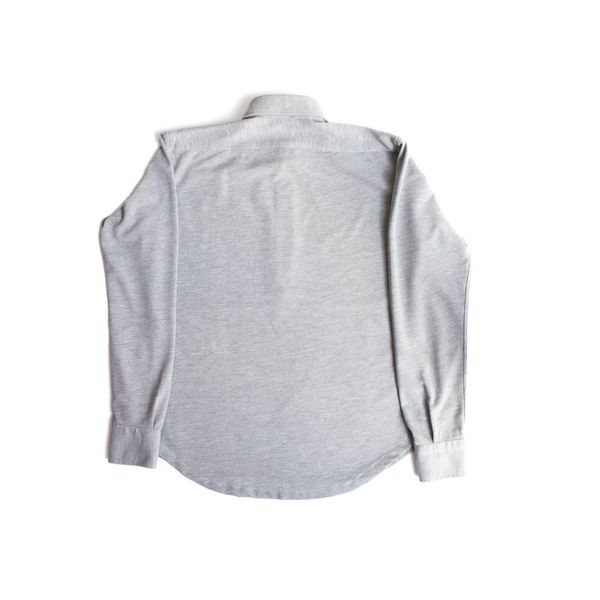 Slim fit Coton Pique Long Sleeve Grey Polo Shirt