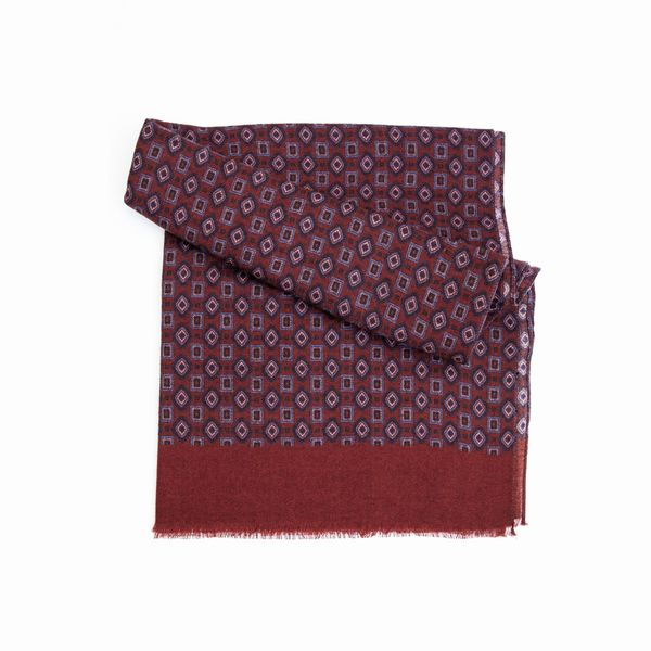 Brown Zampa di Gallina Merino Scarf with Vintage PAtterns