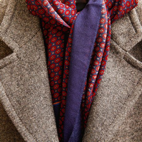 Red and Blue Zampa di Gallina Merino Scarf with Ancient Madder Patterns
