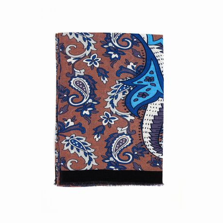 Brown Zampa di Gallina Merino Scarf with Flower Patterns