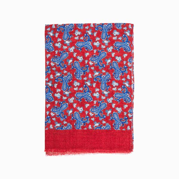 Burgundy Zampa di Gallina Merino Scarf with Paisley Patterns