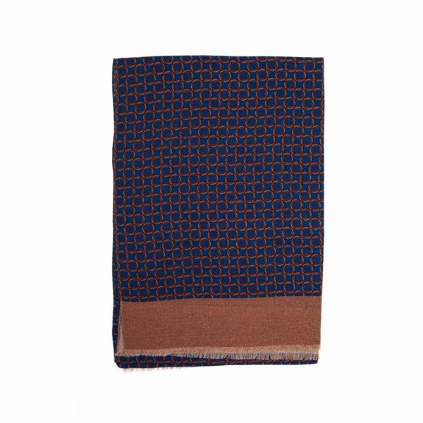 Blue Zampa di Gallina Merino Scarf with Patterns