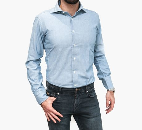 Blue Chambray Slim Fit Zampa di Gallina shirt