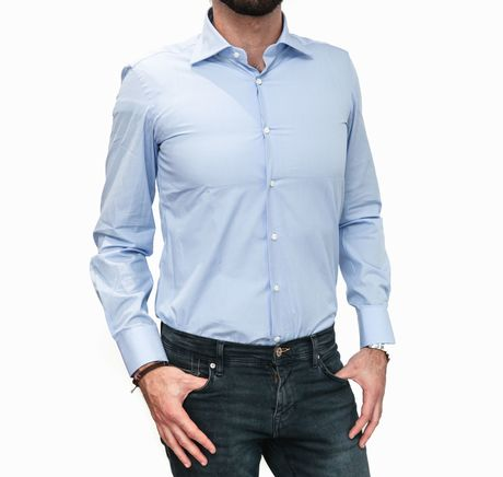 Blue with Stripes Slim Fit Zampa di Gallina shirt