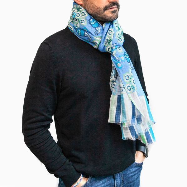 Zampa di Gallina Cotton and Linen Scarf with Blue Patterns