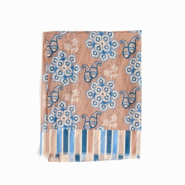 Zampa di Gallina Cotton and Linen Scarf with beige Patterns