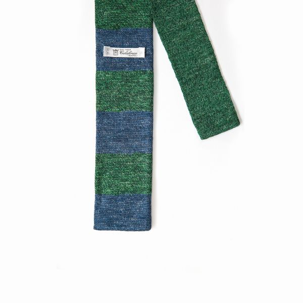 Green and blue Calabrese 1924 Linen and silk Knitted necktie