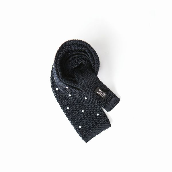 Marine Blue with dots Calabrese 1924 100% silk knitted necktie
