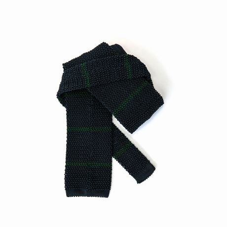 Marine Blue with Green Stripes Calabrese 1924 100% silk knitted necktie