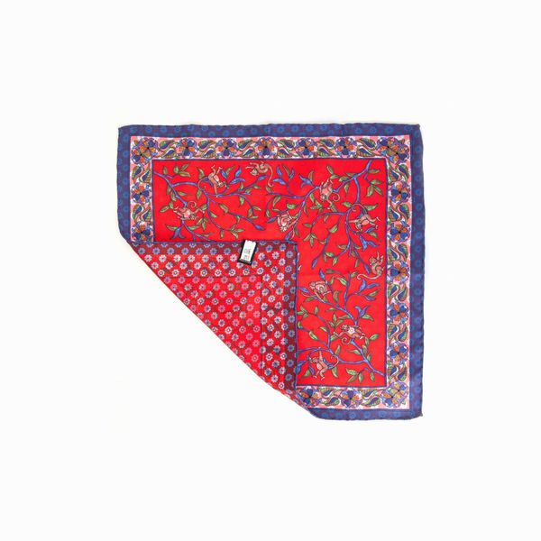 Double-sided red with monkeys patterns Calabrese 1924 hand-tipped Pocket square