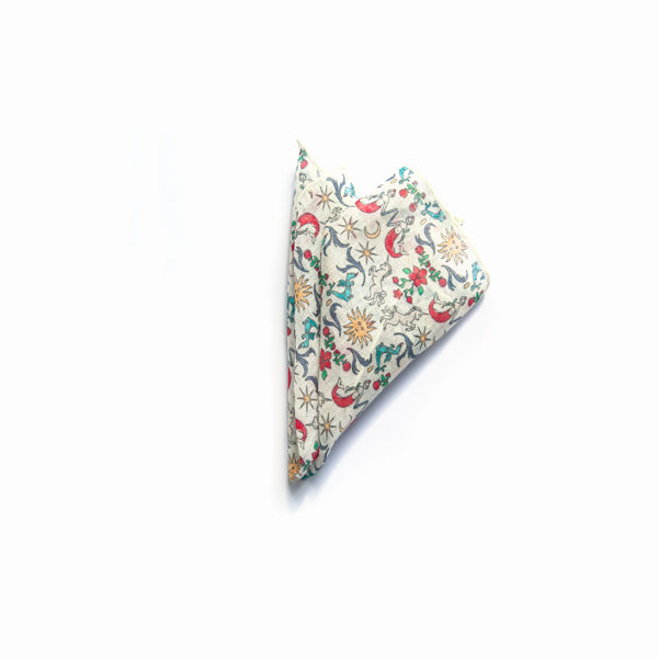 White with dreamlike patterns hand-tipped pocket square 100% linen