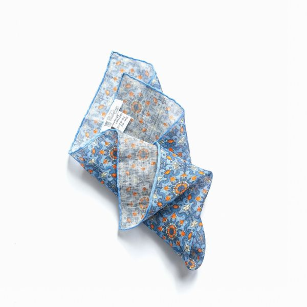 Blue with orange patterns hand-tipped pocket square 100% linen