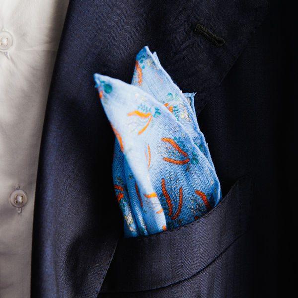Blue with seahorses patterns hand-tipped pocket square 100% linen