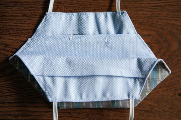 Blue Gingham Cotton Face Mask Zampa di Gallina