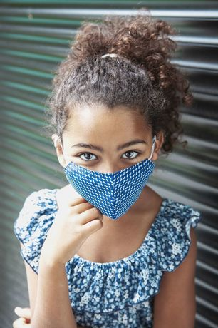 Blue and Violet Gingham Cotton Face Mask Zampa di Gallina