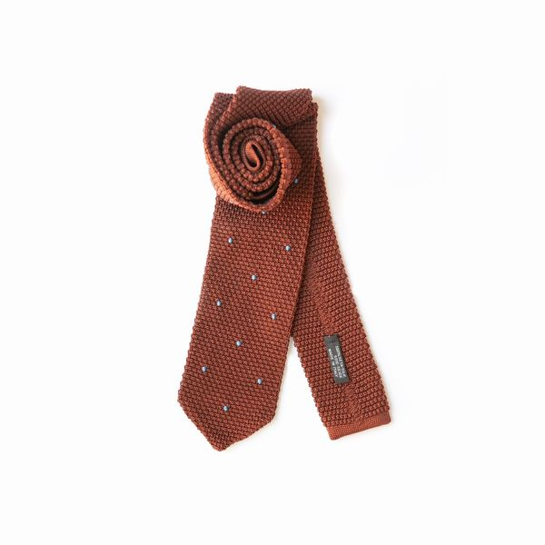 Brown with Blue Dots Zampa di Gallina 100% silk knitted necktie