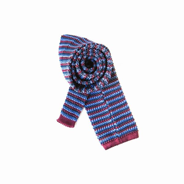 Zampa di Gallina 100% silk knitted necktie with Green, Burgundy and Blue Stripes