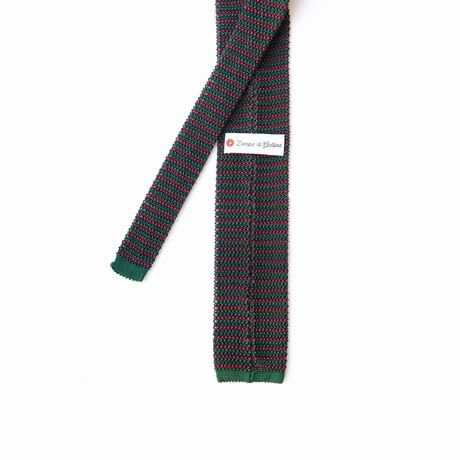 Zampa di Gallina 100% silk knitted necktie with Green, Pink and Blue Stripes