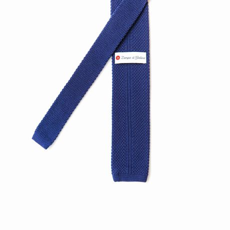 Medium Blue Zampa di Gallina 100% Wool knitted necktie