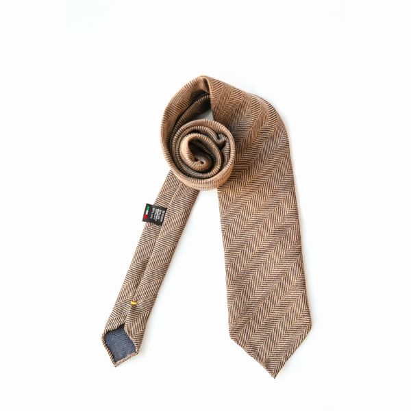 Unlined Twill Beige Zampa di Gallina 100% Wool necktie