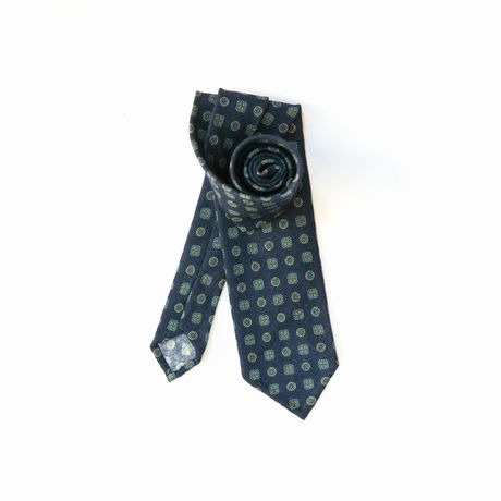 Royal Blue Zampa di Gallina 100% Wool Unlined Necktie with Ancient Madder patterns
