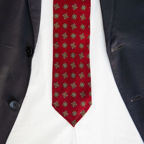 Burgundy Zampa di Gallina 100% Wool Unlined Necktie with Ancient Madder patterns