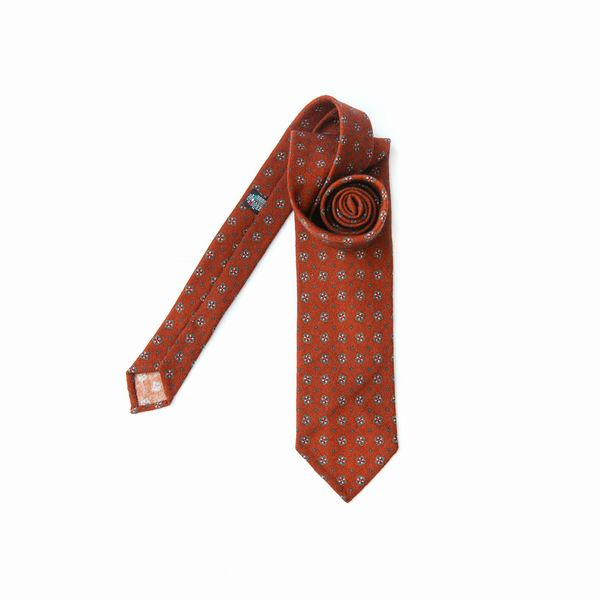 Unlined Brown Zampa di Gallina 100% Wool Necktie with patterns