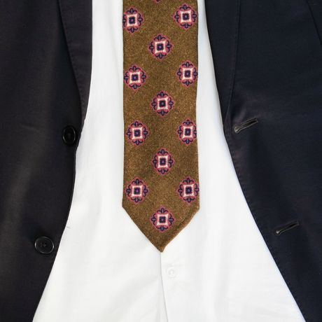 Unlined Light Brown Zampa di Gallina 100% Wool Necktie with patterns