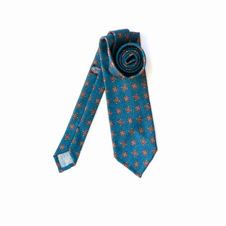 Blue Zampa di Gallina 100% Wool Unlined Necktie with Ancient Madder patterns