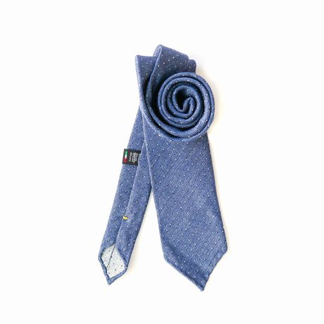 Blue with white dots Zampa di Gallina 100% Wool Unlined Necktie