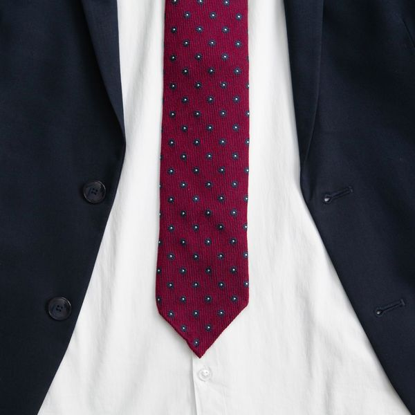 Burgundy with dots Zampa di Gallina 100% Wool necktie